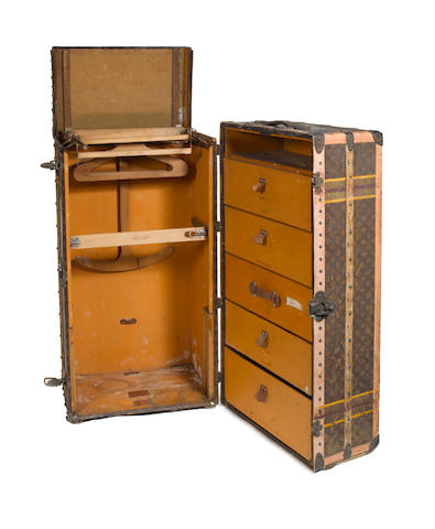 An early 20th Century wardrobe trunk by Louis Vuitton,