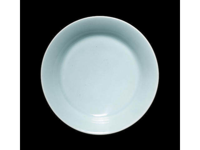 A Clair-de-lune monochrome dish of circular form, with a Qianlong seal mark