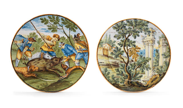 Two Castelli maiolica small plates