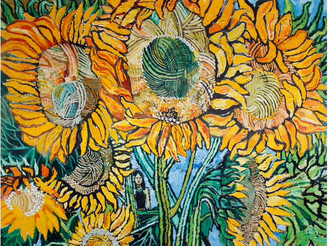 John Bratby R.A. (British, 1928-1992) Girl and Sunflowers