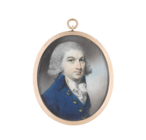 George Engleheart (British, 1750-1829) A Gentleman, wearing blue coat with gold buttons, buff waistcoat and frilled white chemise, his powdered hair worn en queue