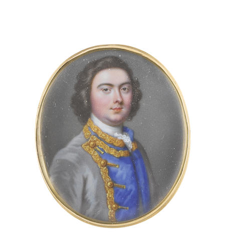 Christian Friedrich Zincke (German, 1683/4-1767) A Gentleman, wearing pale grey coat with Royal blue placket edged with gold braid and buttoned back, his dark curled hair worn in the natural style