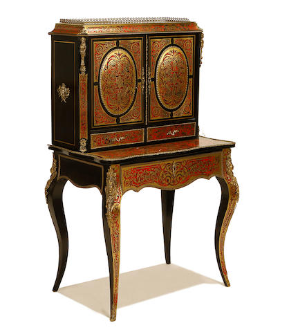 A French late 19th century gilt metal mounted ebony and ebonised, tortoiseshell and brass 'boulle' marquetry bonheur du jour