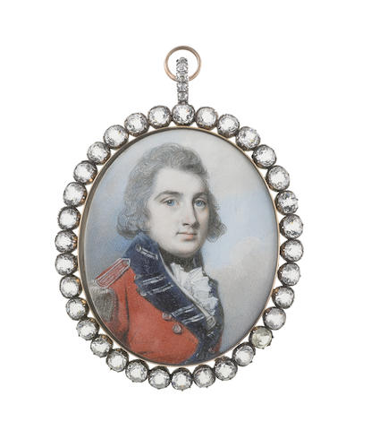 George Engleheart (British, 1750-1829) George King, later 3rd Earl and 1st Baron Kingston (1771-1839), wearing red coatee with blue facings, silver buttons, lace and epaulettes, white waistcoat, frilled chemise, black stock, his hair powdered