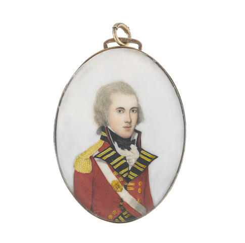 Frederick Buck (Irish, 1771-circa 1840) An Officer of the 58th (Rutlandshire) Regiment of Foot, wearing red coatee with black facings, gold buttons, lace and epaulettes, white waistcoat and frilled chemise, black stock and tie, white cross belt worn over his right shoulder with oval belt plate of the 58th, his hair powdered