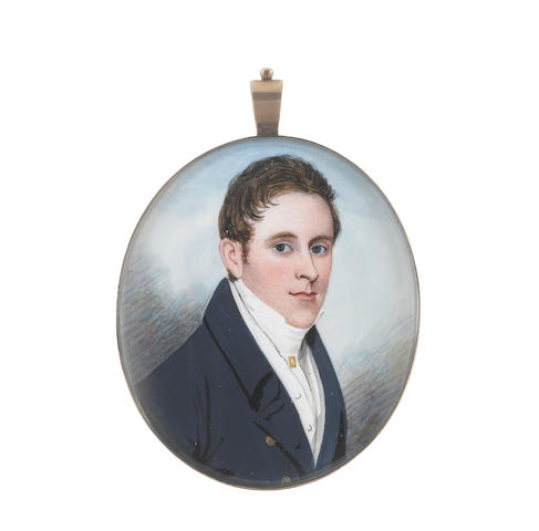 Frederick Buck (Irish, 1771-circa 1840) A Gentleman, wearing blue coat, white waistcoat, chemise, stock and cravat, gold shirt pin
