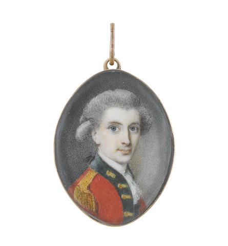 Circle of Richard Cosway, RA (British, 1742-1821) An Officer, wearing red coatee with green facings, gold lace and epaulettes, white stock and lace cravat, his powdered hair worn en queue and tied with a black ribbon bow