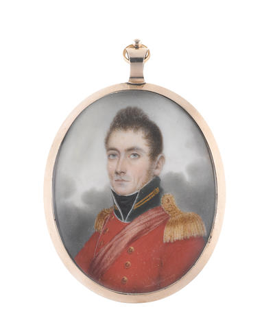 Nathaniel Plimer (British, 1751-1822) Colonel Gill, wearing red coat with dark green standing collar, gold buttons and epaulettes, a red sash worn across his left shoulder, white chemise and black stock