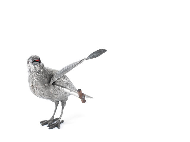 A very important silver standing singing bird automaton of a crow, by Bontems, circa 1890,
