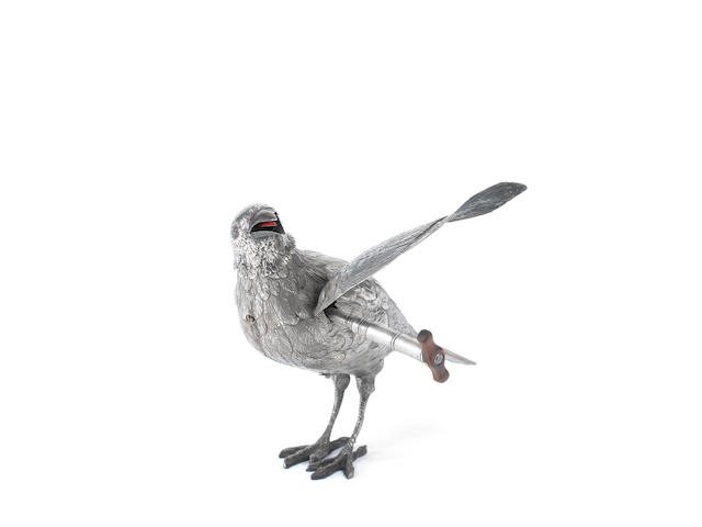 A very important silver standing singing bird automaton of a thrush, by Bontems, circa 1890,