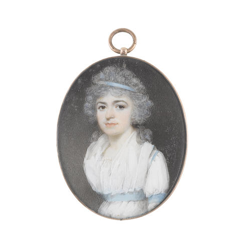 Circle of George Engleheart (British, 1750-1829) A Lady, wearing white dress and fichu, sky blue sash ribbon at her waist, sleeve and shoulder, a matching blue bandeau in her powdered hair