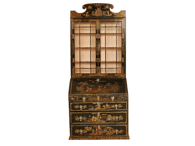 A Queen Anne and later black and gilt japanned bureau bookcase