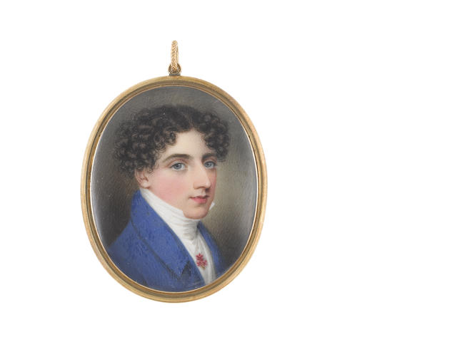 Adam Buck (Irish, 1759-1833) A Gentleman, wearing blue coat, white waistcoat, chemise and stock, a tiny posy of pink flowers pinned to his chemise, his brown hair parted and tightly curled