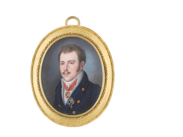 Heinrich Abel Seyffert (German, 1768-1834) A Gentleman, wearing blue coat, white waistcoat, chemise, stock and tie, the Russian Order of St Anne on a red sash ribbon suspended from his neck, the Prussian Iron Cross on his left lapel together with the Cross of Merit and one other medal on a gold ribbon