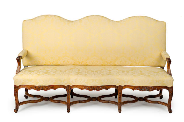 A Louis XV style walnut and upholstered canapé  French 19th century