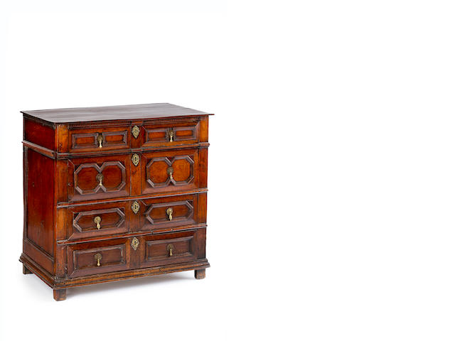 A 17th century oak chest of drawers