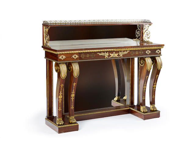 A fine Regency rosewood, gilt bronze and brass inlaid console