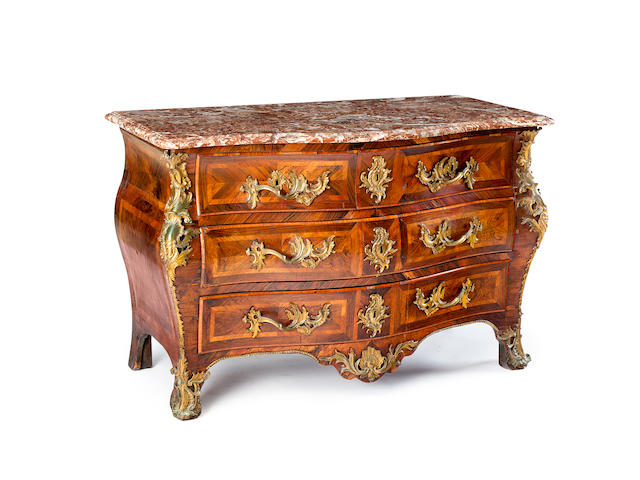 A Louis XV walnut and kingwood parquetry commode circa 1740, by Walter