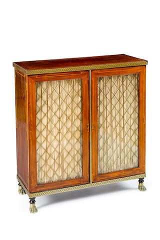 A Regency rosewood and brass inlaid side cabinet