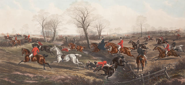 After John Sturgess Fox Hunting Plates 1-4: 'Favourite Fixture', 'Gone Away', 'Over a Stiff Country' and 'The End of a Good Run' each 61 x 117cm (24 x 46 1/16in).