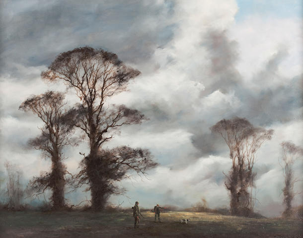 John Trickett (British, born 1952) Guns and spaniel in a winter landscape