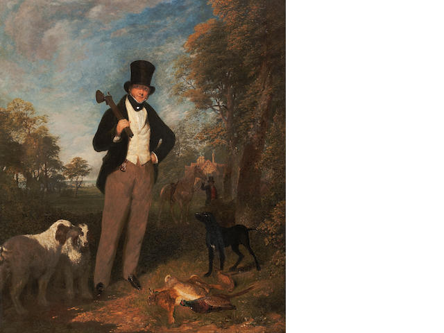George Robert Lewis (British, 1782-1871) A gentleman with shooting dogs and the day's bag