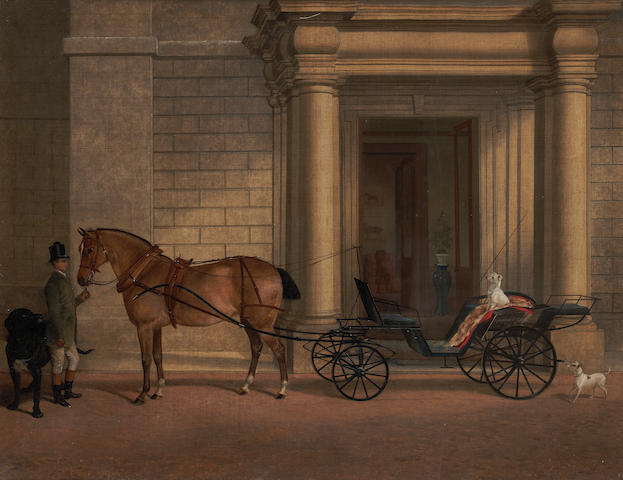 Robert Nightingale (British, 1815-1895) The Marquis of Staffords horse and carriage with groom and dogs