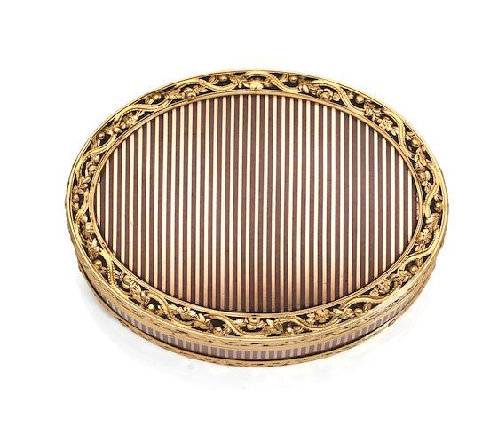 An 18th century gold mounted tortoiseshell box,