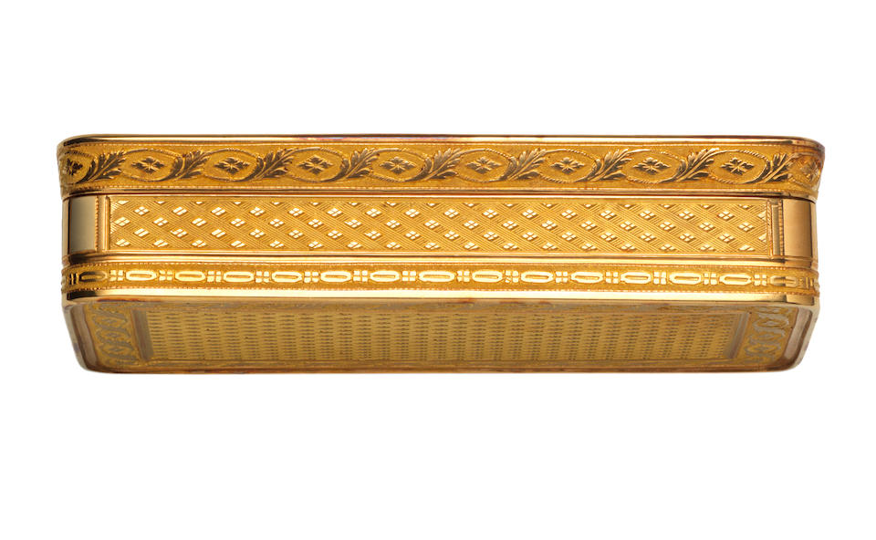An early 19th century French gold Imperial presentation snuff box, by Nicholas Marguerite, with the post-revolutionary unofficial baby's head mark for 20.5 carat gold, Paris circa 1806,  the panel to the underside of the cover with the maker's mark of Etienne Blerzy, the rim engraved Marguerite Joaillier de la Couronne & de leurs Majestés Imperiales,
