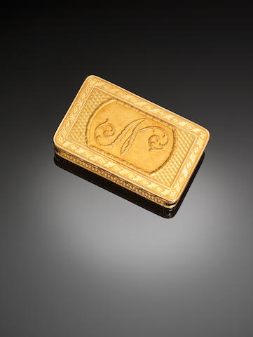 A gold presentation snuff box, monogram N, by Nicholas Marguerite, Paris 1798