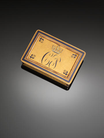 A gold presentation snuff box, crowned monogram CP for Charles Philippe, future King of France, in blue enamel, maker VB, Paris circa 1820