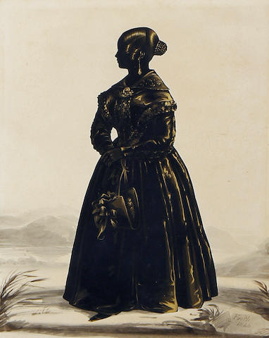 Frederick Frith (British, active circa 1825-circa 1854) A silhouette of Miss Martha Bebb, full-length, profile to the right, wearing dress with wide collar, her hair in a plaited bun, she holds a bonnet by the ribbons in her right hand