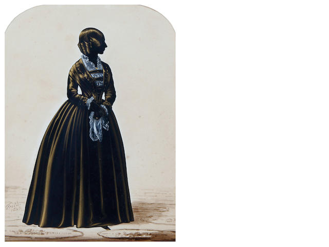 Henry Albert Frith (British, active after 1837-circa 1854) A silhouette of a Lady, full-length, profile to the right, wearing dress over white lace chemise, she holds a lace edged handkerchief in her left hand