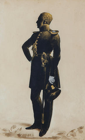Henry Albert Frith (British, active after 1837-circa 1854) A silhouette of Captain William James Sutherland of the 21st Foot, full-length, profile to the left
