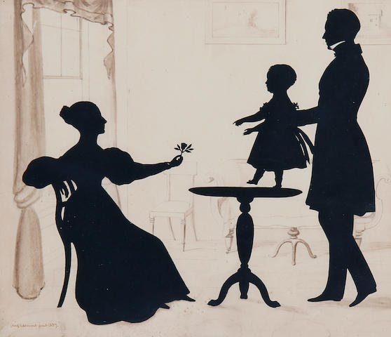 Augustin Amant Constant Fidèle Edouart (French, 1789-1861) A silhouette conversation piece: the seated mother offering a rose to her child, standing on an occasional table, being held by the father