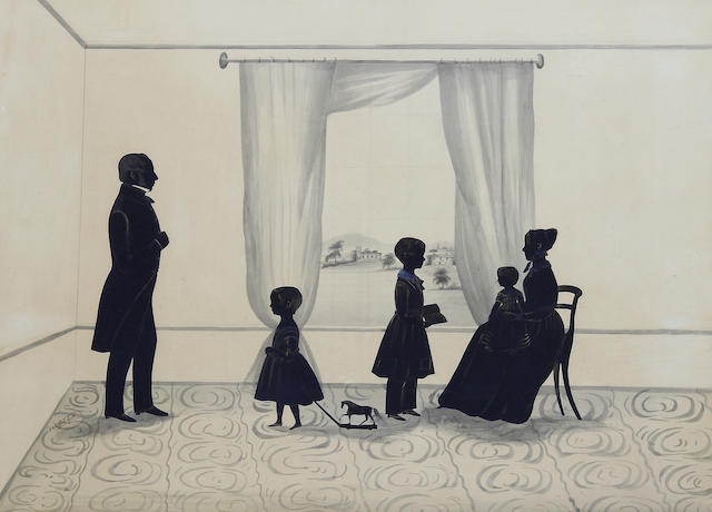 Samuel Metford (British, 1810-1896) A silhouette conversation piece of a young family: the mother seated with the baby, profile to the left, the eldest child, standing, facing his mother, holding an open book, the middle child pulling a toy horse on wheels, standing, profile to the left, facing his father, standing, profile to the right, curtained window to view of a village church and cottage beyond