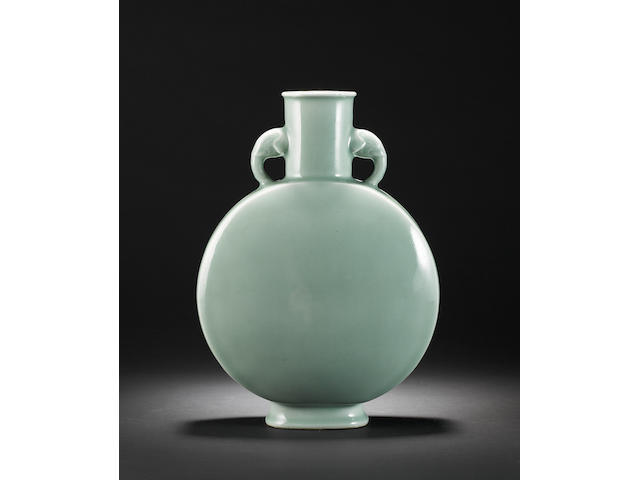 A Celadon monochrome vase of moon flask form