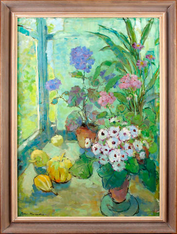 Robin Mackertich (British, 1921-1993) Still life with flowers and fruit