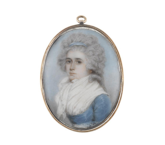 Nathaniel Plimer (British, 1751-1822) Mary Ann Chantrey, wearing blue dress with white fichu and lace trimmed scarf, her powdered hair dressed with a blue ribbon