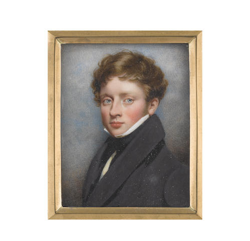 Attributed to Thomas Harper (British, active 1817-1843) A young Gentleman, wearing black coat, cream waistcoat, white chemise, black stock and tie