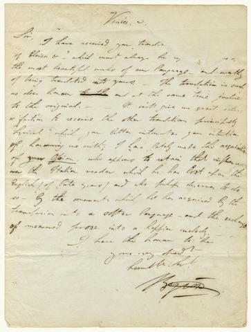 Attributed to Lord Byron, a manuscript letter concerning a translation from Italy