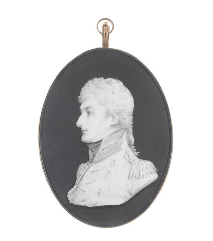Samuel Andrews (Irish, circa 1767-1807) An Officer, bust-length, profile to the left, wearing coat with lace, epaulettes and standing collar, chemise and stock