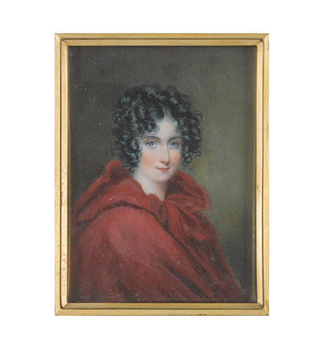 Louisa Sharpe (British, 1798-1843) A Lady, wearing red cloak with hood, her raven hair upswept and curled in ringlets framing her face