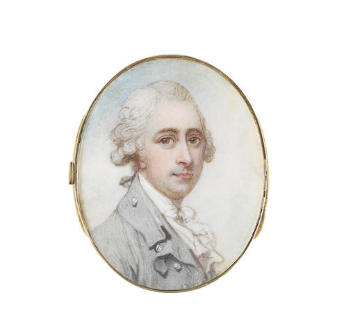 Richard Cosway, RA (British, 1742-1821) A Gentleman, wearing duck egg blue coat, white waistcoat, frilled chemise, stock and cravat, his powdered hair worn en queue and tied with a grey ribbon bow