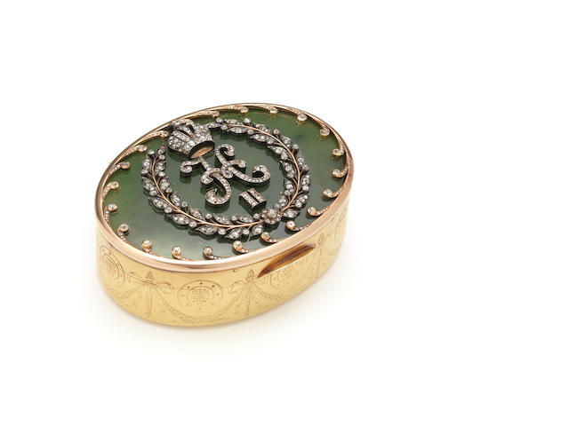A jewelled gold and nephrite Imperial presentation snuff box, Koechli, St. Petersburg, circa 1890