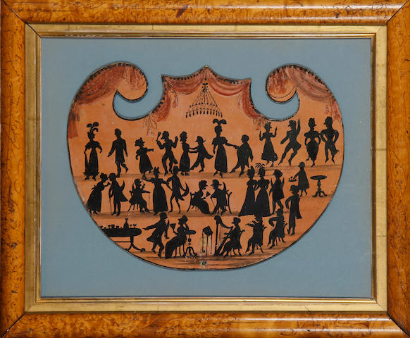 An early 19th Century hand-held firescreen decorated with a silhouette conversation piece of figures dancing and conversing