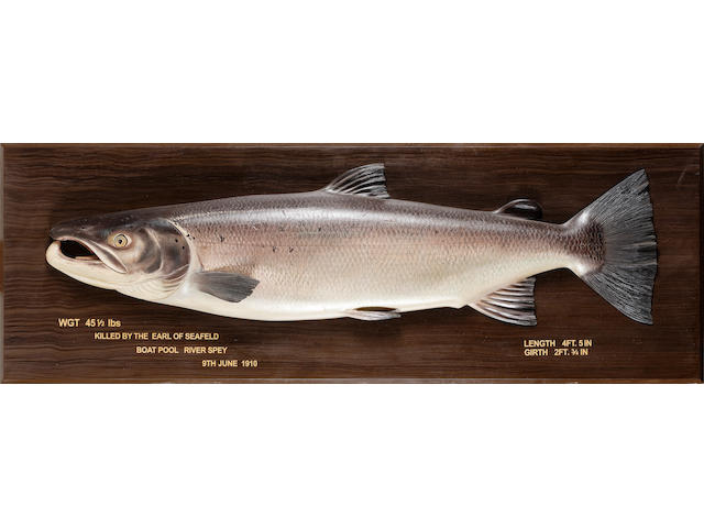 Carved wooden cock salmon 153cm (60in.) wide overall