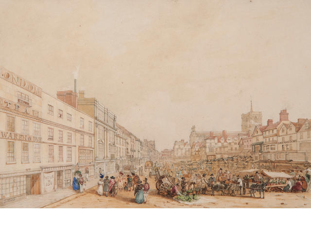 David Hodgson (British, 1798-1864) The Market Place, Norwich