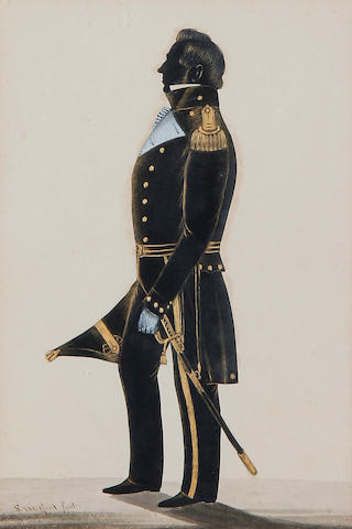 Samuel Metford (British, 1810-1896) A silhouette of a Naval Officer, full-length, profile to the left, wearing uniform, he holds his cocked hat, his sword by his side