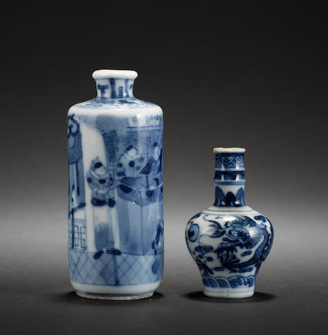 Two blue and white Chinese snuff bottles; each one with a Yongzheng mark